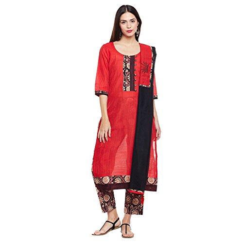 Pinkshink Premium Cotton Red Salwar Kameez Dress Material PSD224