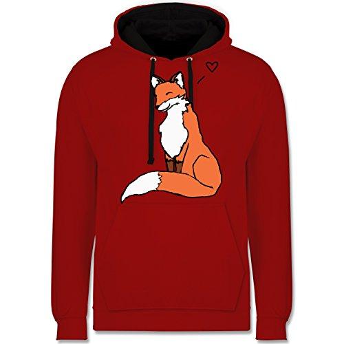 Eulen, Füchse & Co. - Fuchszeichnung mit Herz - Kontrast Hoodie Rot/Schwarz