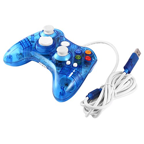 hehilark Wireless Game Controller, USB Wired Game Controller für Xbox 360 Joypad Gamepad Joystick mit LED-Licht Transparent & Blau - Controller Led Xbox 360 Blau
