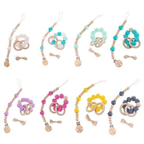 Sharplace 8Pcs Ensemble Chaîne à Tétine Sucette Perles Bracelet Silicone Doux Ligne Résistante Sharplace