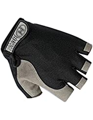 QHGstore Transpirable medio dedo guantes de deportes Gimnasio Bicicleta montar en bicicleta sin dedos negro