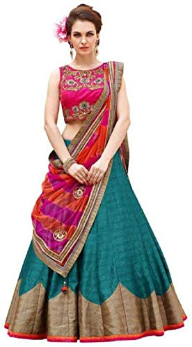Pramukh Fashion Women\'s Semi-Stitched Lehenga Choli(Roza firozi)