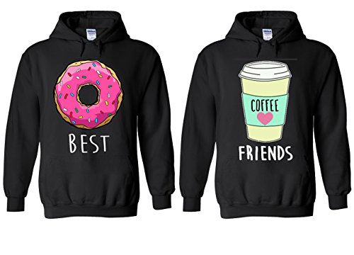 Best Friends Doughnut Coffee Couple Match Valentine Fun Novelty Black Men Women Unisex Hooded Sweatshirt Hoodie