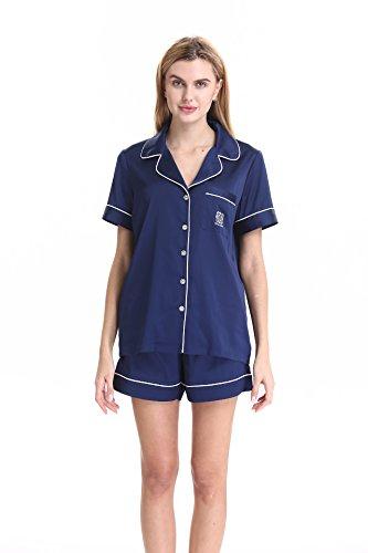 Damen Nachthemd knopfleiste durchgehend Schlafanzüge Satin Kurz Damen Nachthemd kurz by NORA TWIPS(Dunkelblau,L) (Satin-spandex-krawatte)