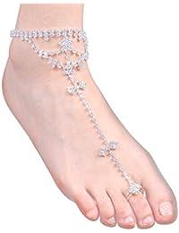MUANI Cadenas Cristal Decor Mujeres de la Muchacha de la Playa para el Tobillo Tobillo de aleación de Zinc Manera de la Novia del pie Jewerly Cadena