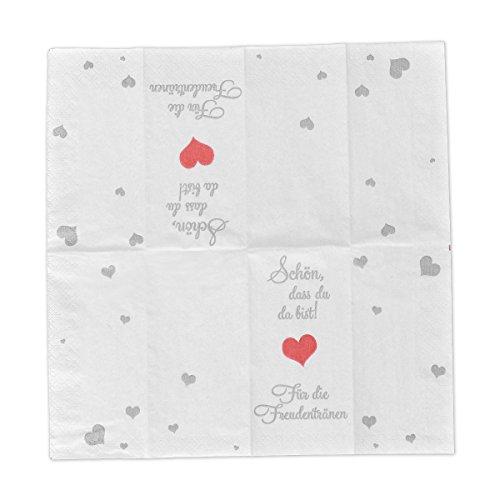 10 x 10 Taschentücher 'Schön, dass du da bist - Für die Freudentränen' zur Hochzeit, Taufe oder Kommunion - 3