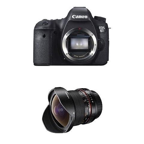 Canon EOS 6D Vollformat SLR-Digitalkamera nur Gehäuse + Walimex Pro 12mm f/2,8 Fish-Eye Objektiv DSLR schwarz