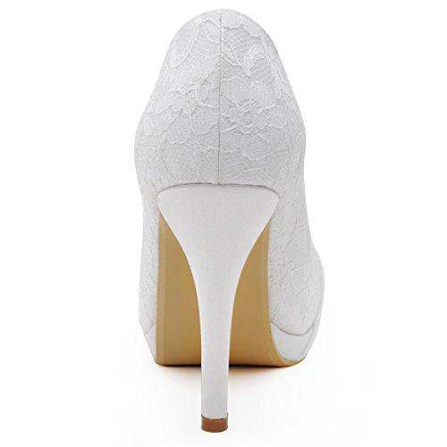 Elegantpark Hc1413p Mujer De Encaje Cerrado Con Tacón De Aguja Plateau Rhinestone Partido Zapatos De Boda Blanco Marfil