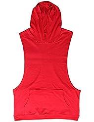 QHGstore Gimnasio sin mangas de los hombres de culturismo Ropa chalecos transpirable Deportes rojo M