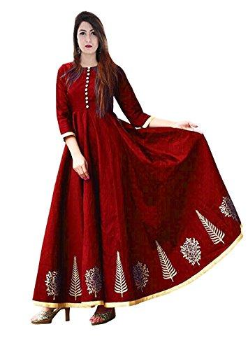 Vaankosh Fashion Women's Cotton Silk Anarkali Kurti (maroon)