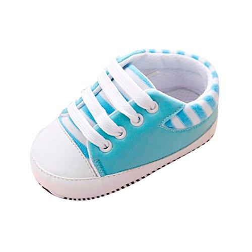 Igemy 1 Paar Neugeboren Infant Baby Girls Kinderbett Soft Sole Anti-Rutsch Sneakers Bandage Schuhe Hellblau