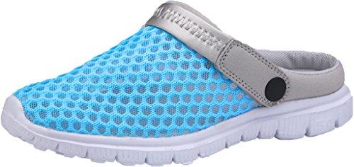 Gaatpot Damen Herren Clogs Pantoletten Slip On Outdoor Hausschuhe Freizeit Mesh Strand Sandale Schuhe Sommer Blau(Sky) 39 EU = 40 CN (Mesh-pantoletten)