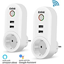 Enchufe Inteligente WiFi Inalámbrico, 2 Pack con 4 USB Smart Socket Toma Funciona con APP para Android e iOS (Control Remoto, Temporizador, Programador,Amazon Alexa, Google Home)