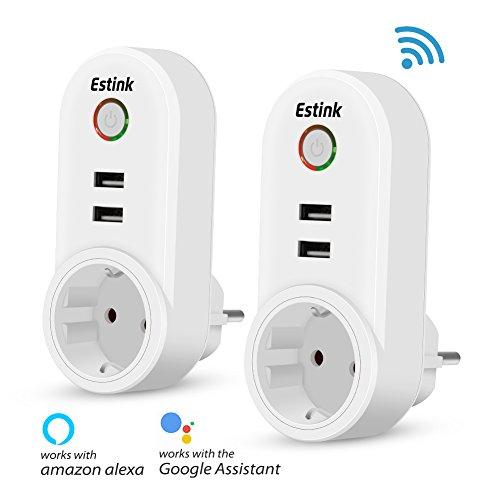 Steckdose Wlan Smart Plug Kompatibel mit Amazon Alexa Google Home USB Steckdose App Steuerung (Wifi Ausschalten)