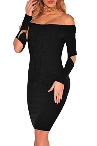Abito donna sexy vestito corto aderente casual maniche lunghe spalle nude elegante Nero