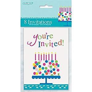 Unique Party- Invitaciones para Fiesta, 8 Unidades, Multicolor (49614)