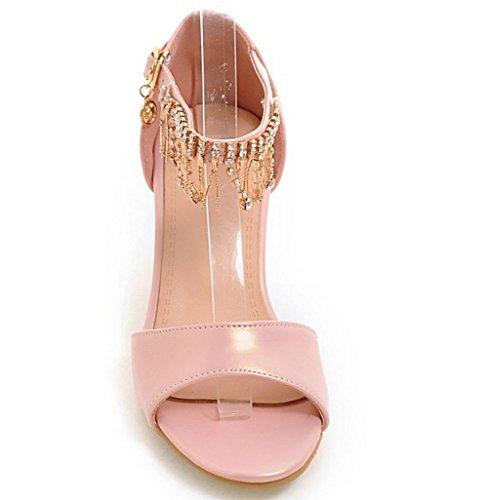 Frauen Sandalen im Sommer mit Sandalen weiblichen Sandalen weiblicher Fischkopf rau mit Sandalen und Pantoffeln Frauen Sandalen mit Diamant-Wort Pink