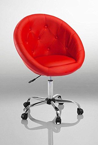 Drehstuhl Schreibtischstuhl Rot Rollhocker mit Lehne Arbeitshocker Kosmetikhocker Duhome 0538