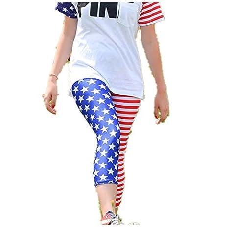 Pants Longra® Women American Flag Print Pants Knee-Length Leggings Calf-Length Pants (L, Blue)
