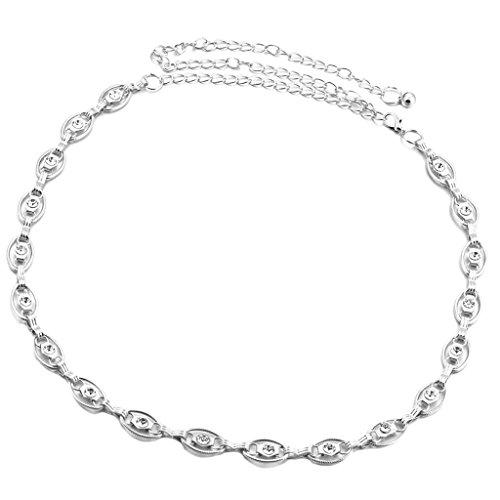 Frauen Luxuxrhinestone Kettengürtel Hüftgürtel Für Kleid Dekor Silber