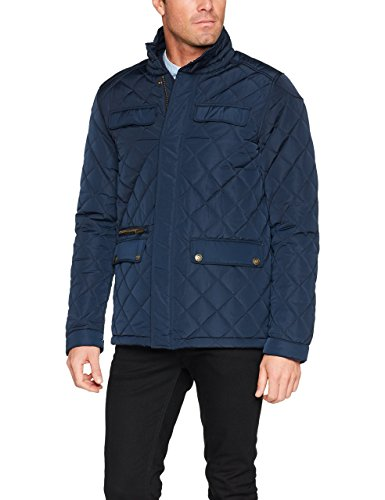 James Harvest Herren Jacke Huntingview Quilted Jacket, Blau (Marineblau), Large Snap-zip-jacke
