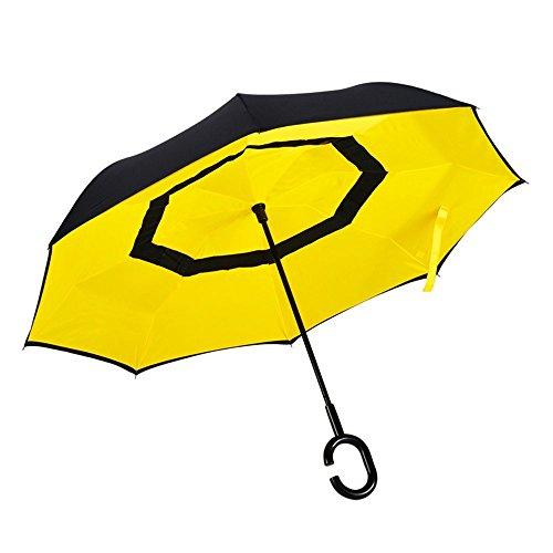 Wolle Doppel-tuch (HOMEE Kreative Reverse Regen und Regenschirm Doppel-Auto männlichen Geschäftsmann langen Griff Reverse Regenschirm (Farbe optional),Rot)