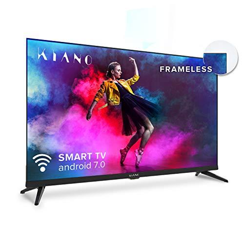 Kiano Elegance TV 32' Pouces Android TV 7.0 [Téléviseur 80 cm Frameless sans Cadre TV 8GB] (HD,...