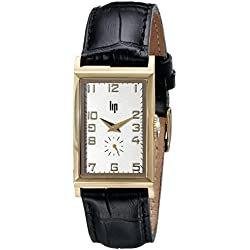 Lip 1663032 Sir Winston Churchill Analogue Watch with Chrome Plated Case Gold Dial