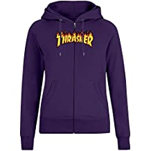 Thrasher - Thrasher Zipper Hoodie Jumper Pullover for Women - 100% Soft Cotton DTG Printing Womens Clothing
