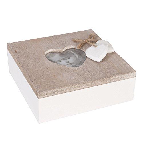 Clayre & Eef 6H0699 Holzkiste Fotobox mit integriertem Bilderrahmen in/braun Ca. 15 x 15 x 6 (7 x 7 cm)