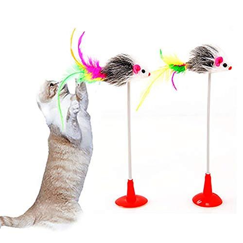 Ogquaton Haustier Katzenfeder Falsche Maus Rod Bottom Sucker Scratch Spielzeug Katze Kätzchen Spielen Spielzeug Katzenfeder Zauberstab Langlebig und nützlich -