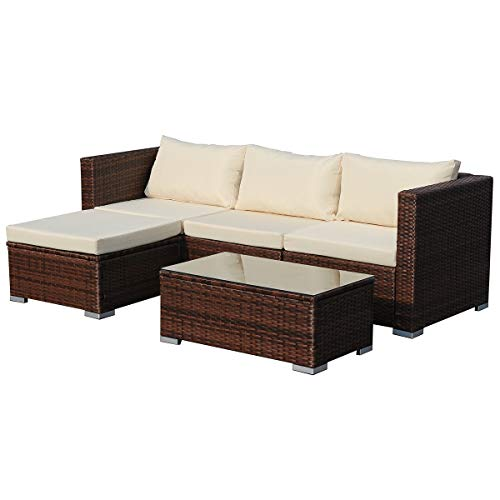 ttan Sitzgruppe Couch-Set Ecksofa Sofa-Garnitur Gartenmöbel Lounge Grau, Schwarz oder Braun (Braun) ()