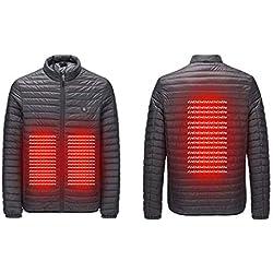 ACEBABY Chaqueta Calefactable Hombre Abrigo de Calentamiento de Abdomen con USB Inteligente y Calefacción Eléctrica Outwear Jacket Chaqueta Exterior Otoño Invierno