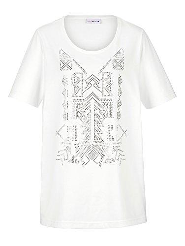 Damen Shirt vorne mit Motiv aus Nieten by MIAMODA Creme