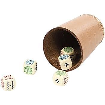 /Set di  tazze in pelle con 5/Dadi /Cubi/ Idena 10002234/