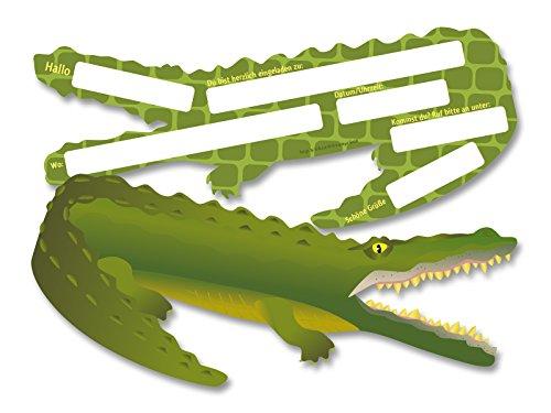 6 Einladungskarten * KROKODIL * für Kindergeburtstag oder Party von DH-Konzept // Kinder Geburtstag Party Einladung Einladungen Karte Mottoparty Safari Dschungel Wildtiere Alligator