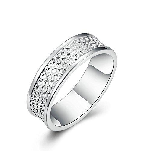 Versilbert Finger Ringe Elegant Welle Muster Eheringe Band mit Zirkonia Silber Gr.57 (18.1) ()