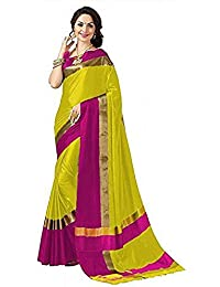 High Glitz Fashion Women's Cotton Saree With Blouse Piece (HGF1394 Yellow & Pink _Yellow_ Free Size)