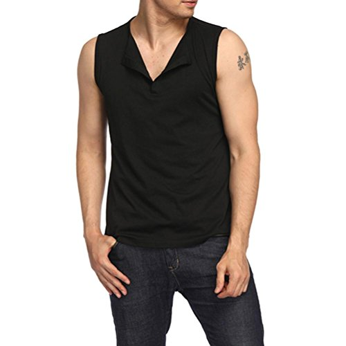 Herren Shirt, Einfarbige Crewneck Regular Sweatshirt Sportswear Ärmellos Weste Top Blouse Muscle Shirt (L, Schwarz)