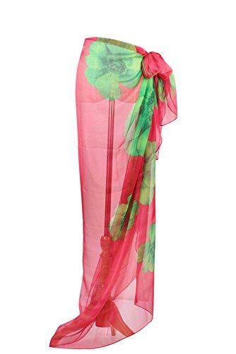 PB-SOAR XXL Damen Sarong Pareo Strandtuch Wickelrock Wickeltuch Schal Halstuch mit Blumenmuster, weich und leicht (Pink)