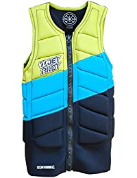 Jet Pilot CK Elite frontal Zip Comp Vest–Chaleco de neopreno, chaleco de protección frente, salvavidas, wakeboard Chaleco/Chaleco reversible Blue Lime o negro/Varios Tamaños