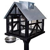 XXL Vogelhaus mit 3-Bein Ständer - Luxus Panorama Vogelvilla mit Solar-LED-Beleuchtung - Futterstation mit herausziehbarer Trinkschale