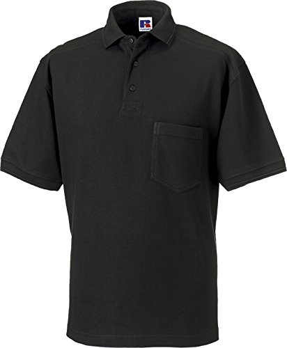 Russell Collection Workwear Polo Shirt Mens Cotton Short Sleeve Work Shirts Tops