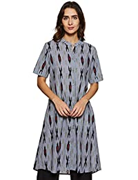 Indi lite Women Grey & Black Ikat Printed Cotton Half Sleeve Shirt style Mandarin Collar Kurta