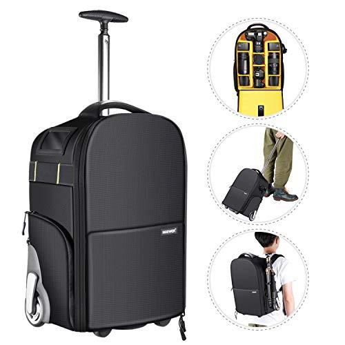 Neewer 2-in-1 Kamerarucksack Trolley Fotorucksack Gepäck-Laufkatze, versteckte Zugstange und Band, stoßfest, langlebig und wasserdicht für Kamera, Stativ, Objektiv für die Flugreisen