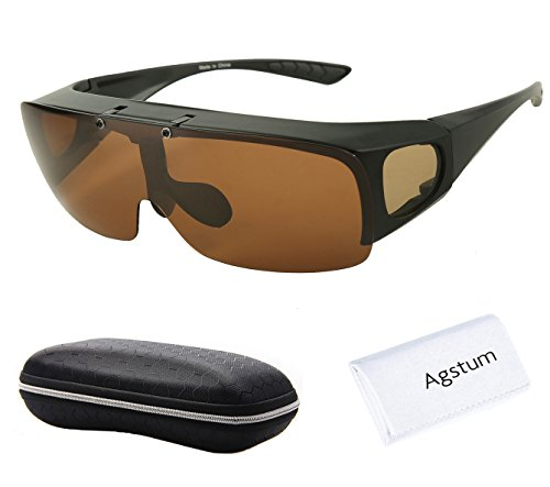 Agstum Herren Sonnenbrille Schwarz Matte black frame with brown lenses