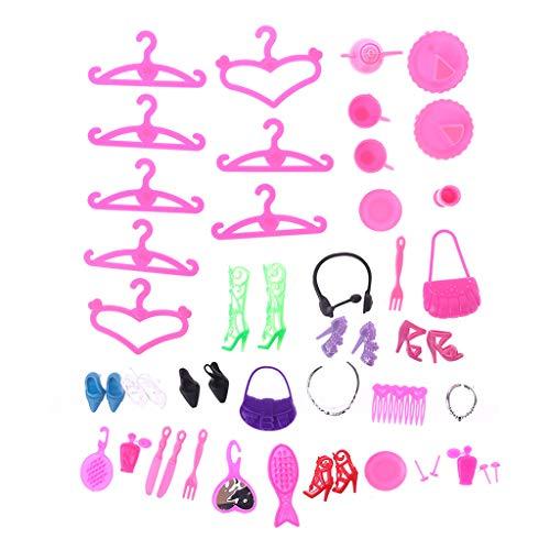 opfschmuck Niedliche Kleiderbügel Kleidung High Heel Dekoration Kamm Spiegel 42 stücke Zubehör Miniaturen Schuhe Mode Puppen Kinder Kinder Mädchen Geschenke Spiel ()