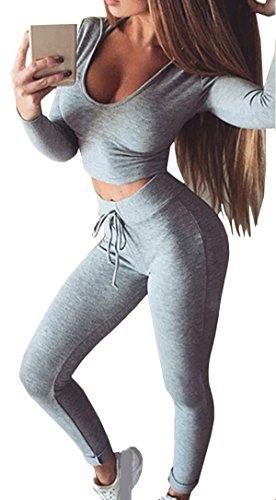 Bevalsa Damen 2 Stücke Set Sport Yoga Outfit U-Ausschnitt Langarm Top T-Shirt mit Kapuze + Reizvolle Bodycon Fest Leggings Sexy Pullover Sportanzug Trainingsanzug Rundhals Slim Fit