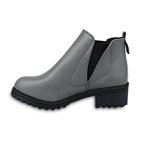 Ularma Zapatos de las mujeres, Bajo de invierno zapatos de tacón botines (39, gris)