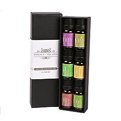 Idea Regalo - Set Premium dei migliori 6 oli essenziali per aromaterapia (10ml), Pacchetto di campioni con olio 100% terapeutico di lusso (include lavanda, pianta del tè, eucalipto, franchincenso, cannella, menta)